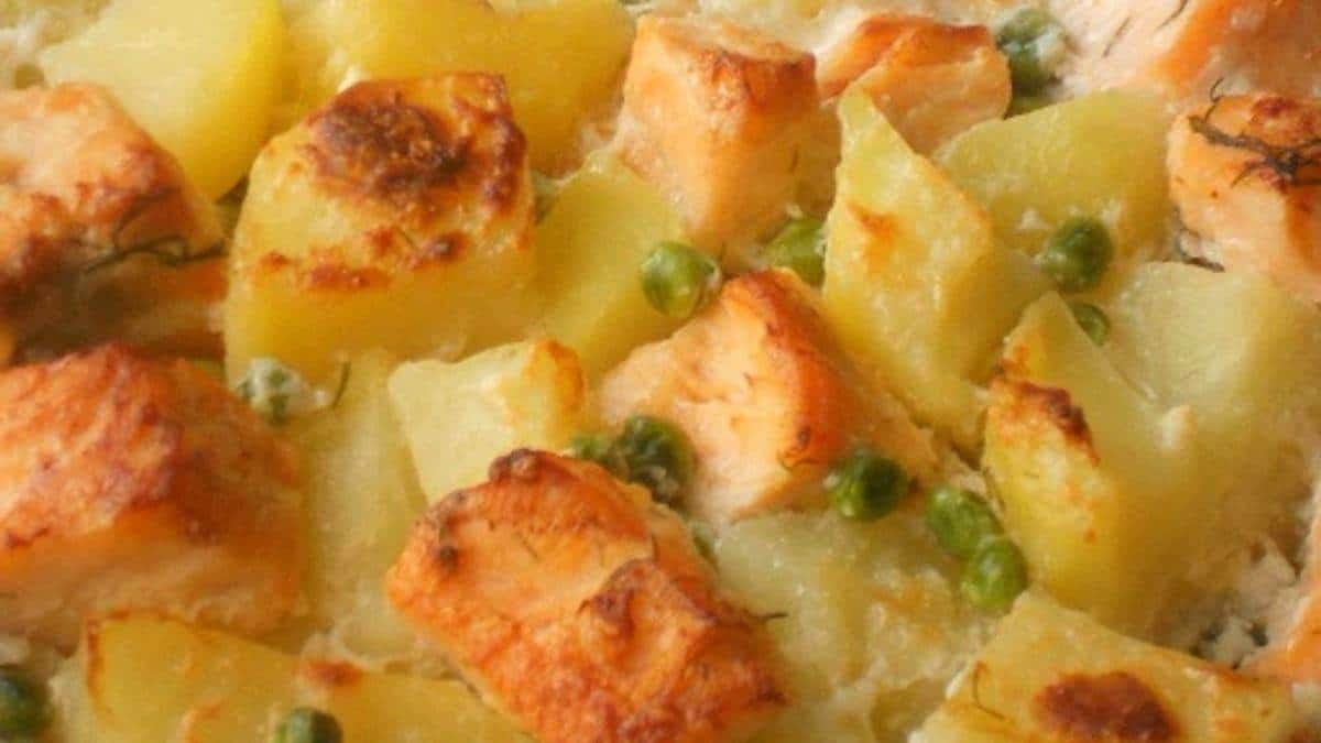 Gratin pommes de terre saumon