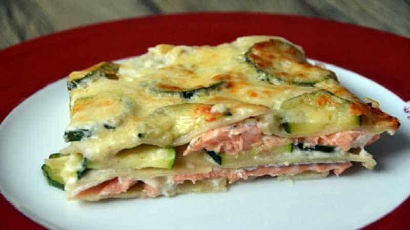 Lasagnes aux courgettes et au saumon