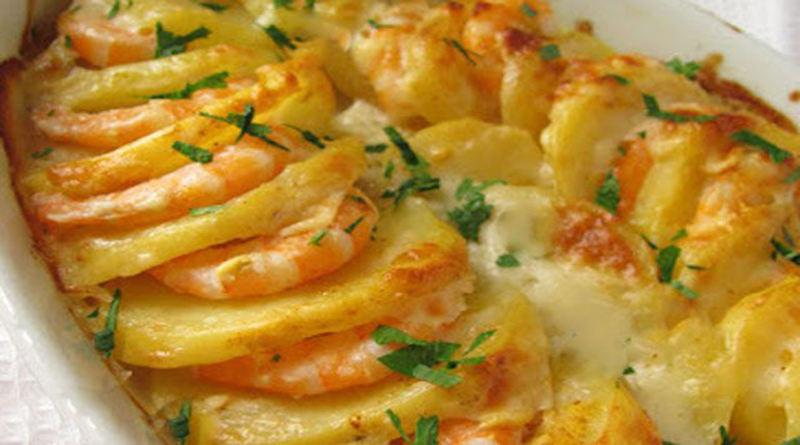 Gratin light de crevettes et de pommes de terre