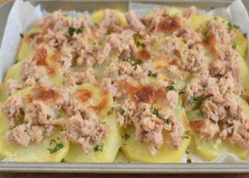 Pommes de terre gratinées au thon