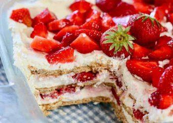 Gâteau glacé aux fraises sans cuisson