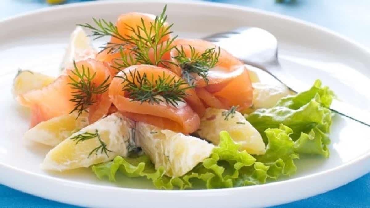 Salade de pommes de terre et saumon au citron